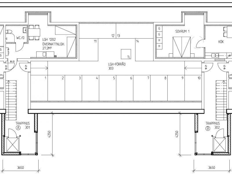 Planskiss våningsplan 3, vindsplan /