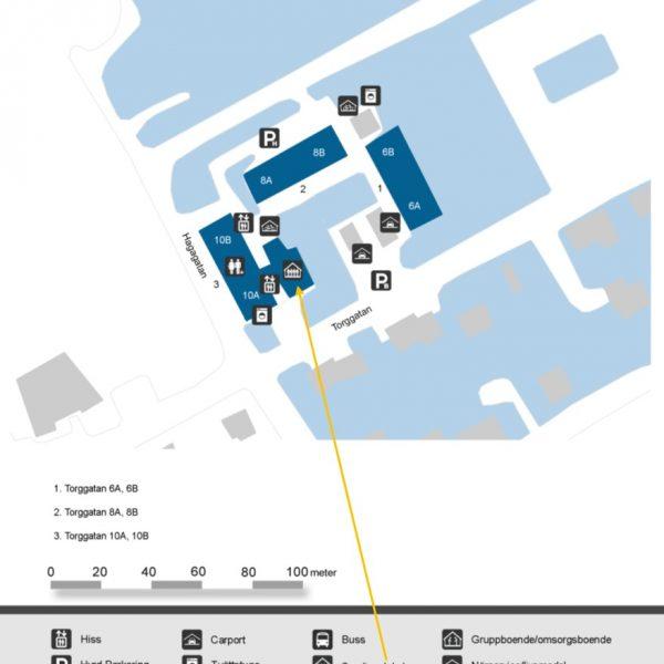 Översiktskarta över området Torggatan 6, 8 och 10